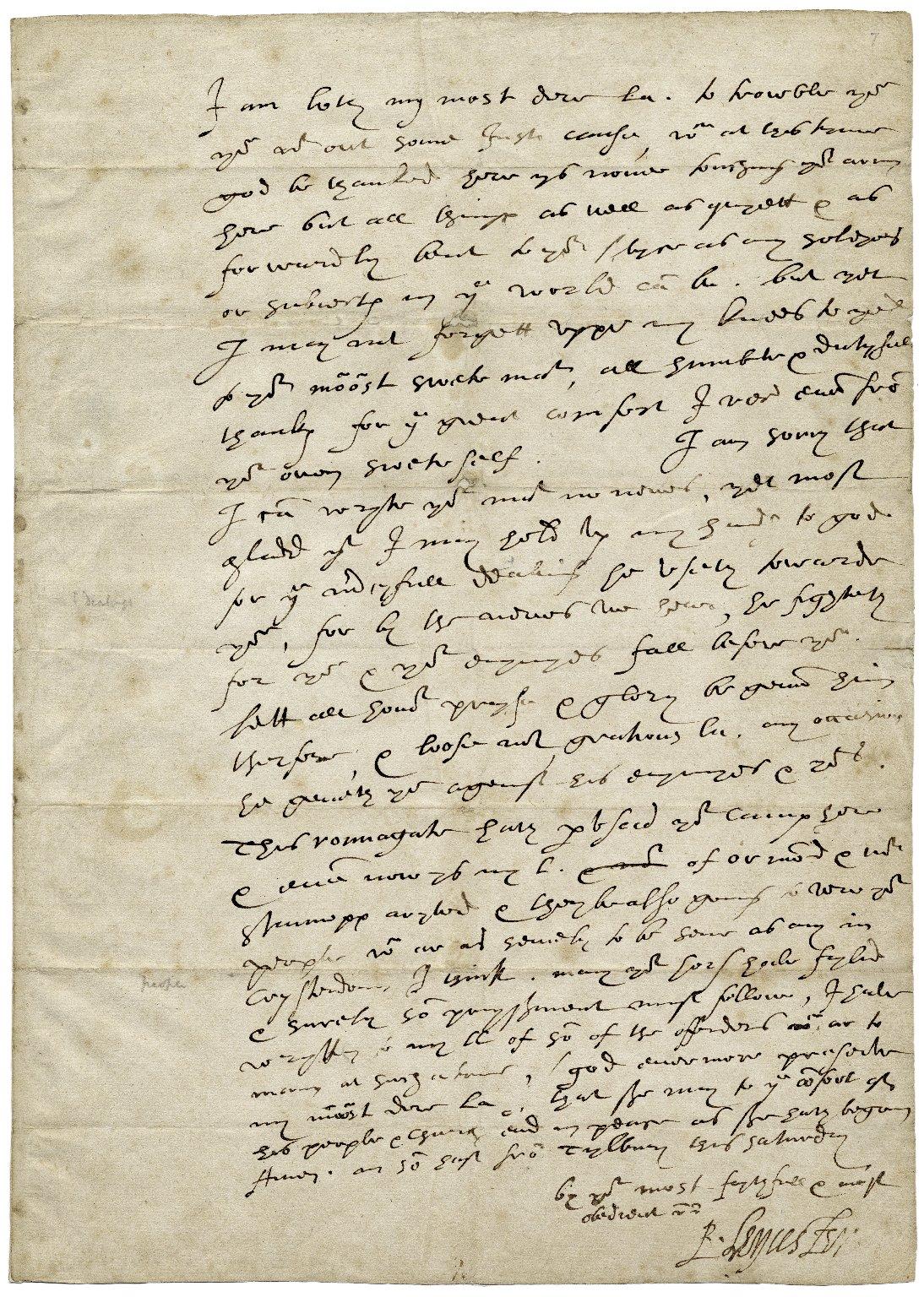 Одно из последних писем Роберта Дадли Елизавете, 3 августа 1588 года. Источник: en.wikipedia.org